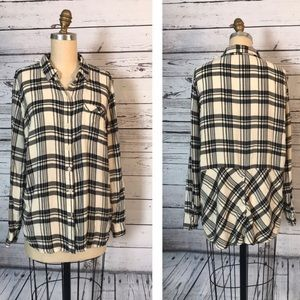 Lucky brand black & white plaid flannel size small